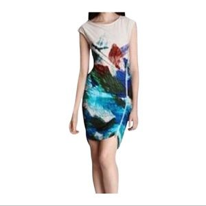 BCBG Abstract Dell Side Zipper Fitted Dress